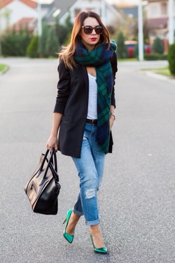 scarf tartan green thick