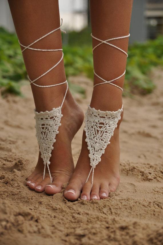 Crochet Ivory Barefoot Sandals Nude shoes Foot jewelry door barmine