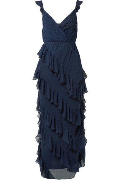 alice + olivia gown chiffon navy silk dress