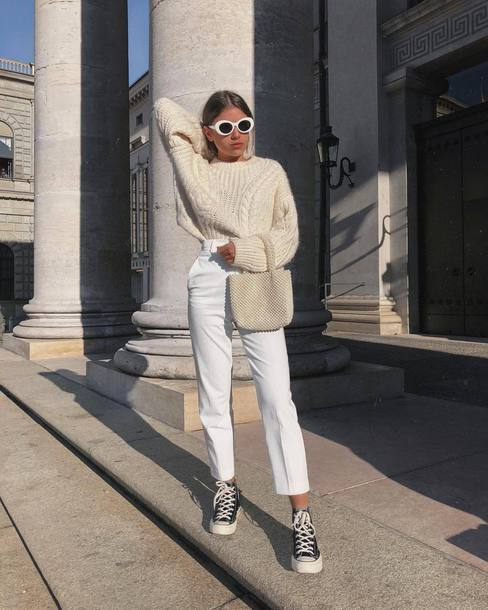 sweater white sweater sunglasses white sunglasses sneakers pants all white everything