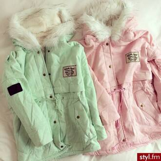 coat green pink winter outfits winter jacket teal mint jacket pastel pastel coat vintage retro impression14.com pajamas