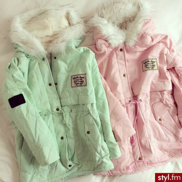 coat green pink winter outfits winter jacket teal mint jacket pastel pastel coat vintage retro pajamas