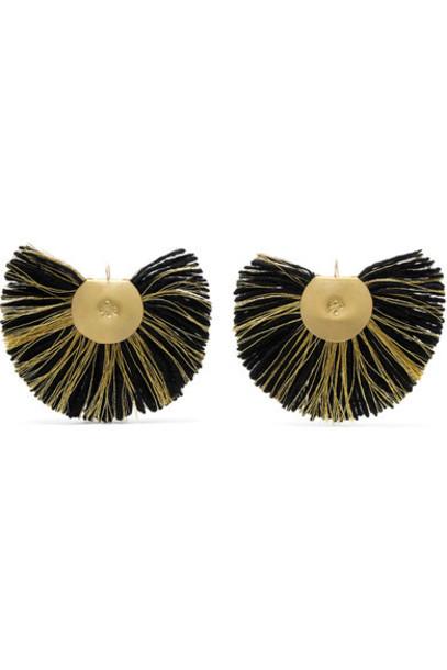 Katerina Makriyianni earrings gold black jewels