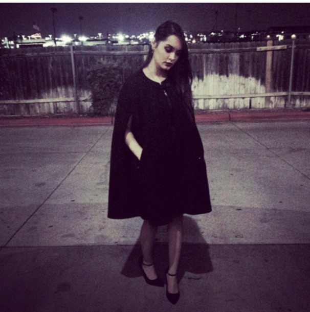 coat shoes classic hairstyles make-up black dress black coat black heels heels winter coat edgy