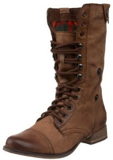 www.shoebytch.com: Steve Madden Flannel Combat Boots