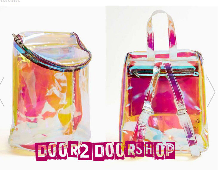 Spacer mini backpack pu silver backpack colorful hologram shoulder bag new