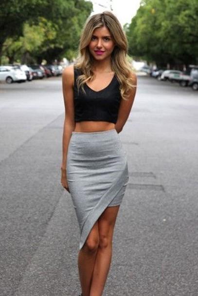 skirt blouse top grey skirt grey skirt with sheer black hem gray skirt short skater skirt short skirt high low skirt high low dress mini skirt minimalist casual asymmetrical asymetrisch asymmetrical skirt asymmetrical tight skirt asymmetrical skirt
