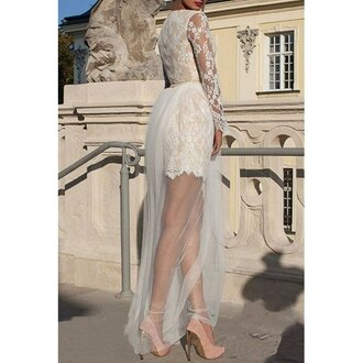 dress white lace wedding dress sexy round neck long sleeve see-through hollow out lace dress for women fashion trendy elegant long sleeves rose wholesale-dec