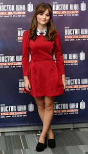 jenna louise coleman,doctor who,blue shirt,collar,embroidered,red dress,collared dress
