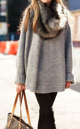 sweater grey sweater oversized sweater grey oversized sweater fur scarf winter outfits winter sweater