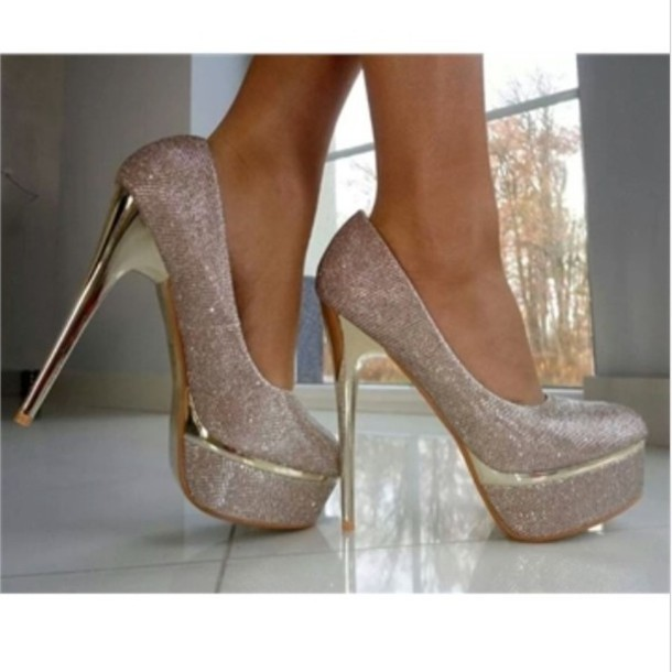 Shoes: silver, silver shoes, pumps, prom shoes, high heels ...