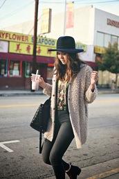 color me nana,blogger,hat,fluffy,grey jeans,cardigan