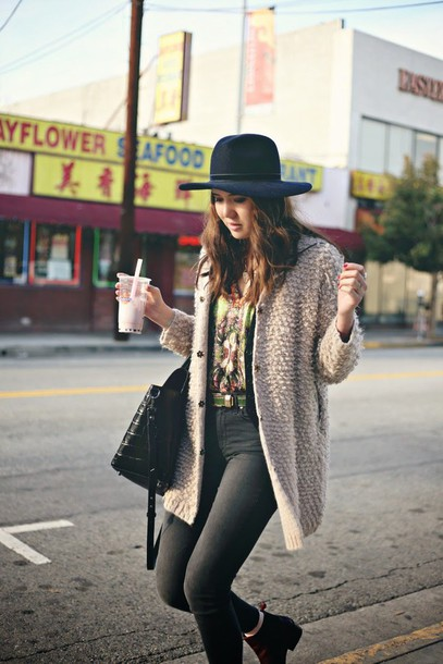 color me nana blogger hat fluffy grey jeans cardigan