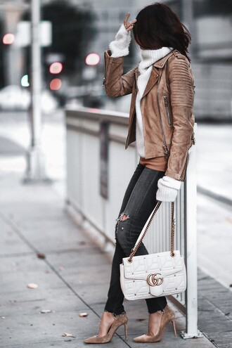 fashionedchic blogger jacket sweater shirt brown jacket gucci bag gucci high heel pumps pumps turtleneck sweater