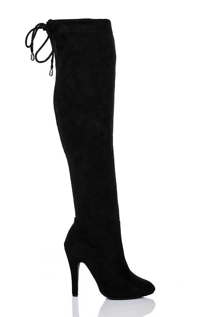 Lace Up High Heel Stiletto Over Knee Tall Boots Black Suede Style