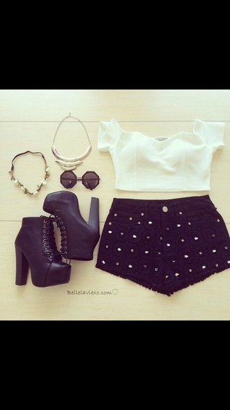 black shorts boho hippie sparkles white crop tops black heels flower crown high heels glitter fancy shirt