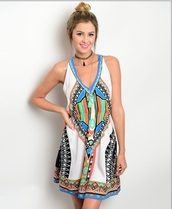 dress,whie coral blue top
