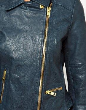 ASOS | ASOS Curved Hem Leather Jacket at ASOS