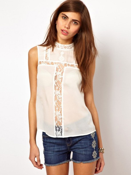 shirt t-shirt top lace top clothes clothes white t-shirt