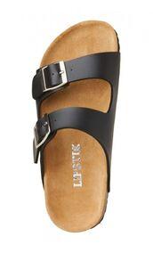 black sandals,two strap sandals,buckle sandals,cork soles,www.ustrendy.com
