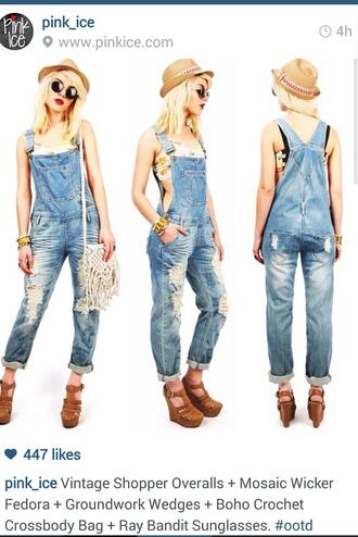 bag overalls denim crochet bags heels wedges fedora sunglasses bangle