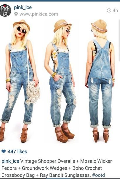 bag overalls denim crochet bags bag heels wedges fedora sunglasses bracelets