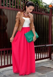 jacket,leather jacket,skirt,long skirt,bag,shirt,long,pink,coat,fashion,tank top,top,outfit,tan,white,green,maxi,maxi skirt,spring,look,clutch,handbag,maxi dress,pretty,red skirt,red dress,shoes,red,bags and purses,blue skirt,white shirt,dress,pink maxi,brown