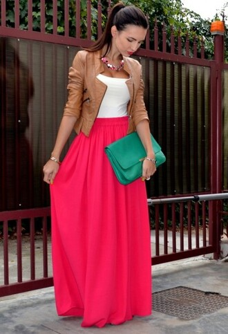 jacket leather jacket skirt maxi skirt bag shirt long pink plain coat fashion tank top top outfit tan white green maxi maxi skirt spring look clutch handbag maxi dress red skirt red dress shoes red bag bag blue skirt white shirt dress