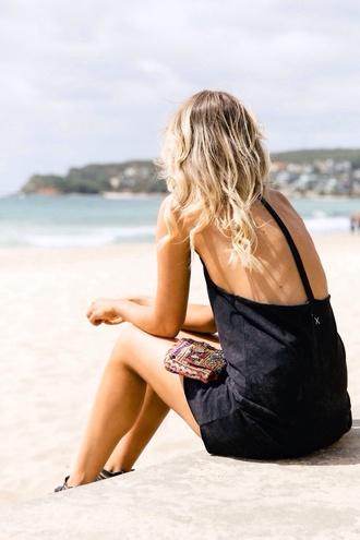 dress black summer dress vacation little black dress backless backless dress