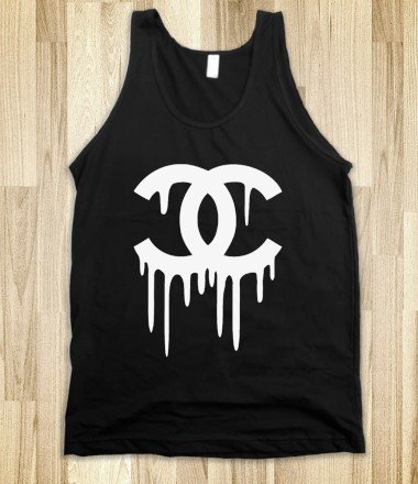 Chanel Bleeding Tank Top in Black - Tumblr Clothing - Skreened T-shirts, Organic Shirts, Hoodies, Kids Tees, Baby One-Pieces and Tote Bags Custom T-Shirts, Organic Shirts, Hoodies, Novelty Gifts, Kids Apparel, Baby One-Pieces | Skreened - Ethical Custom Apparel
