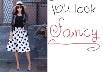 hat sun glasses pock a dot jacket pock a dot long skirt black shirt