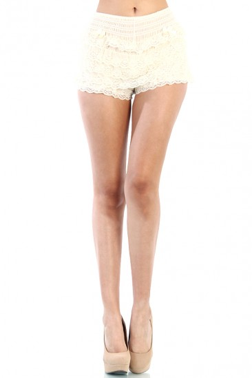LoveMelrose.com From Harry & Molly | LACE SHORT PANTS - IVORY
