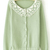 Green Long Sleeve Contrast Lace Collar Bead Sweater - Sheinside.com