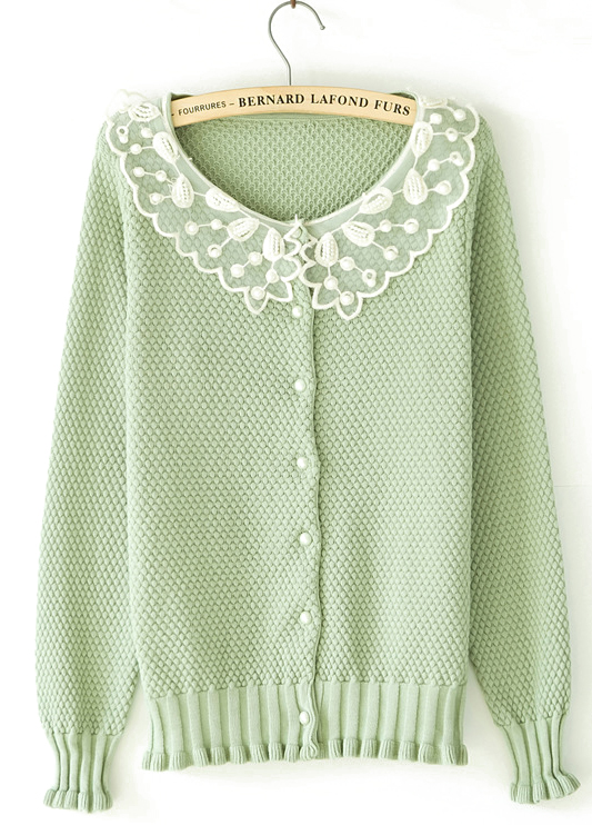 Green Long Sleeve Contrast Lace Collar Bead Sweater - Sheinside.com