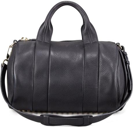 Alexander wang black rocco stud bottom duffel bag
