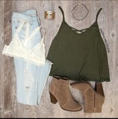 top,green,strappy,tank top,olive green,shoes,brown,heels,boots