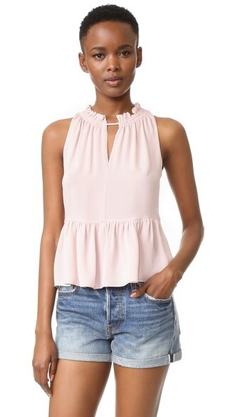 top peplum top sleeveless sheer pink