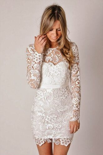 dress white cream long sleeves lace dress long sleeve lace dress short lace dress cream lace dress white lace dress