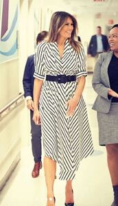 dress,stripes,striped dress,spring dress,belt,melania trump,first lady outfits,midi dress