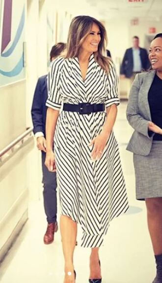 dress stripes striped dress spring dress belt melania trump first lady outfits midi dress