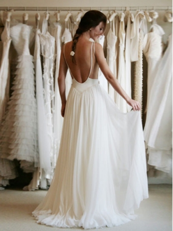 A line chiffon backless lace wedding dresses, white long lace prom dresses [w0018]