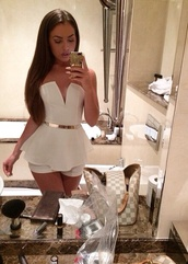 dress,jumpsuit,romper,belt,gold belt,peplum,white,louis vuitton,fashion,bag,phone cover,clothes,girls dress,gold,hot,perfect,cute,best,nice,beautiful,white dress,glamour,chic,outfit