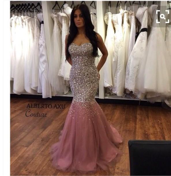 Pink Rhinestone Prom Dress
