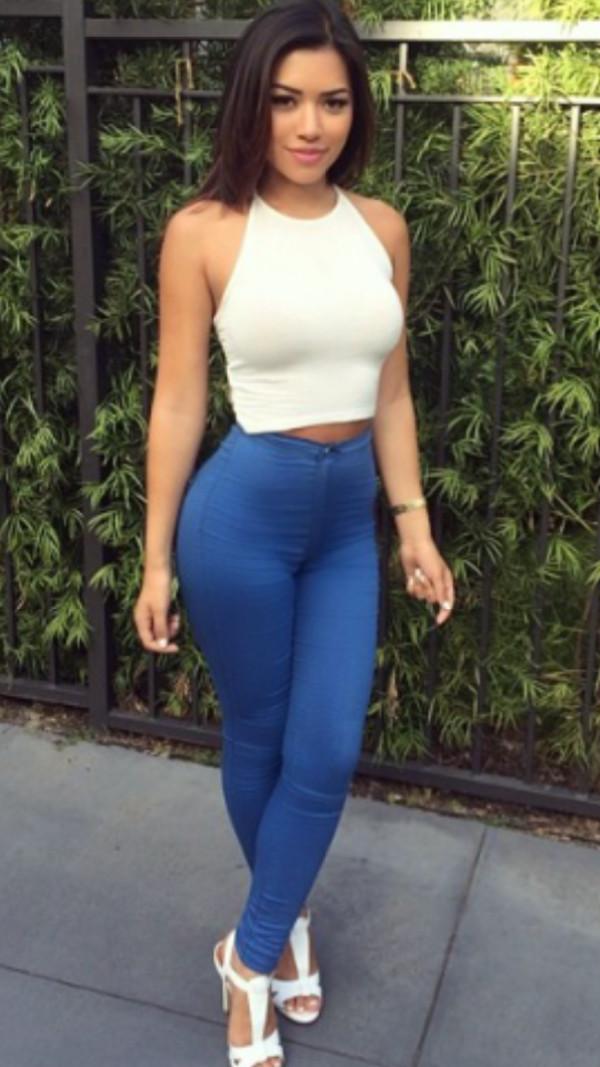 NWT Fashion Nova Super High Waist Denim Skinnies Medium Blue Pants Womens size 5