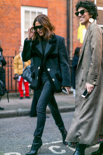 jacket london fashion week 2017 fashion week 2017 fashion week streetstyle grey jacket denim jeans black jeans skinny jeans black skinny jeans boots black boots ankle boots high heels boots lace up boots top black top sunglasses