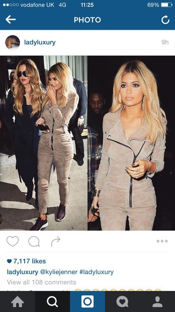 jumpsuit tight kylie jenner suede kyliejenner jumpsuit beige suede