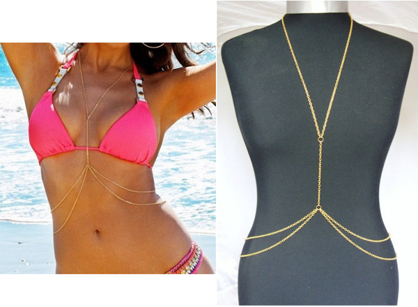 Womens Sexy Fashion Gold Body Belly Waist Chain Bikini Beach Harness Necklace | eBay