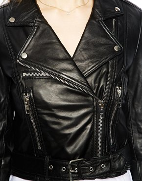 Warehouse | Warehouse Cropped Leather Biker at ASOS