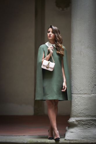 lovely pepa blogger shoes bag jewels poncho forest green dress