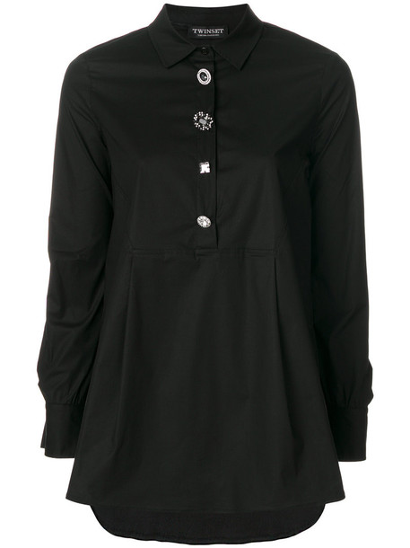 Twin-Set shirt button up shirt women spandex cotton black top